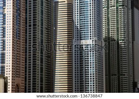 DUBAI, UAE - APRIL 8: Modern skyscrapers on April 8, 2013 in Dubai. Modern skyscrapers, Dubai Marina, Dubai, United Arab Emirates - stock photo