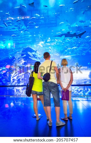 DUBAI, UAE - 1 APRIL 2014: People in front of the Oceanarium inside Dubai Mall. It is the largest indoor aquarium in the world at a length of 50 meters long and 10 million litres of water. - stock photo