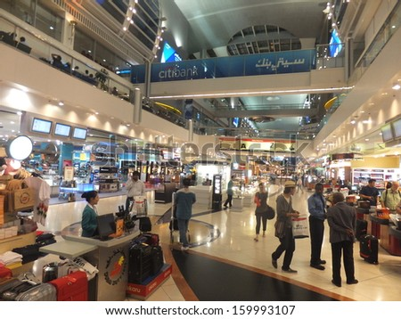 DUBAI, UAE - AUGUST 6: Dubai Duty Free at the International Airport, as seen on August 6, 2012 in Dubai, UAE. It is the worlds largest airport retailer based on turnover. - stock photo