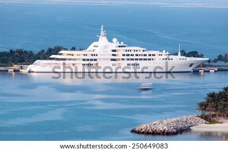 DUBAI, UAE - DEC 16: Dubai - yacht of the Sheikh Mohammed bin Rashid Al Maktoum, the ruler of the Emirate of Dubai. December 16, 2014 in Dubai, UAE - stock photo