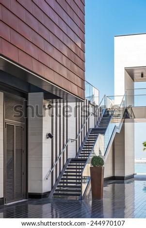DUBAI, UAE - DECEMBER 31: Detail of modern architecture on December 31, 2014 in Dubai - stock photo