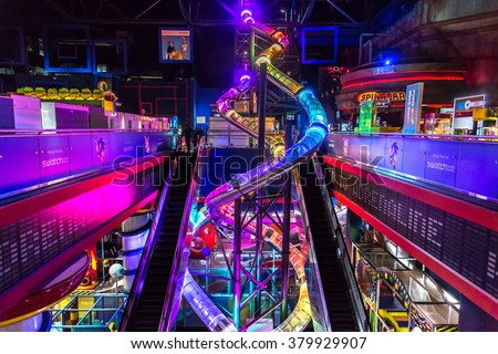 DUBAI, UAE - DECEMBER 5: Sega Republic, indoor theme park at The Dubai Mall, UAE. December 5, 2015 in Dubai, United Arab Emirates - stock photo