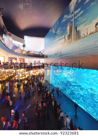DUBAI, UAE - DECEMBER 25: View of the aquarium at Dubai Mall in Dubai, on Decemebr 25, 2011. It is the largest indoor aquarium in the world at a length of 50 meters. - stock photo