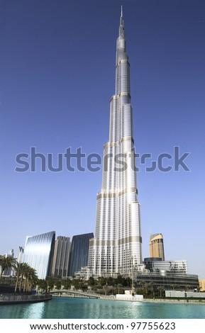 DUBAI, UAE - FEBRUARY 22: Burj Khalifa facade on February 22, 2012 in Dubai, UAE. Burj Khalifa is a tallest building in the world, at 828m. Located on Downtown Dubai, - stock photo