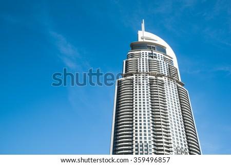 "DUBAI, UAE: Hotel ""the Address"" before fire on September 23, 2015 in Dubai, UAE - stock photo"