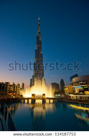 DUBAI, UAE - JANUARY 2: Burj Khalifa on January 2, 2012 in Dubai, UAE. Burj Khalifa is currently the tallest building in the world, at 829.84 m (2,723 ft). - stock photo