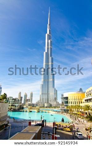DUBAI, UAE - JANUARY 4: Burj Khalifa, world's tallest tower, Downtown Burj Dubai January 4, 2012 in Dubai, United Arab Emirates. - stock photo