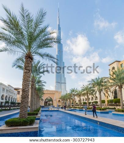 DUBAI, UAE-JANUARY 16: Skyscrapers in the city center on January 16, 2014 in Dubai, UAE. Modern skyscrapers in the city center. - stock photo