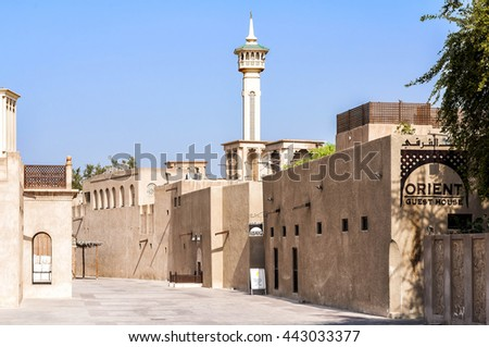 Dubai, UAE - January 06, 2012: View of Al Bastakiya historical district. Established at the end of the 19th century, now is an engaging neighborhood full of merchant's houses, art galleries and cafes - stock photo
