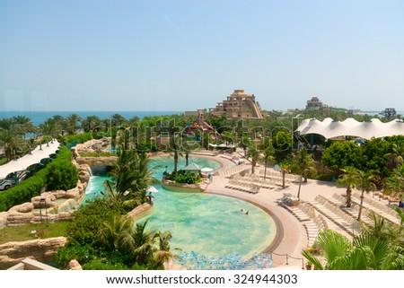 DUBAI, UAE - 16 JULY 2014: Beautiful water park at Atlantis, the Palm Luxury Resort Hotel in the United Arab Emirates. - stock photo