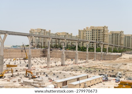 DUBAI, UAE - 16 JULY 2014: Ongoing development at Atlantis the Palm, an enormous and beautiful resort hotel complex in Dubai, United Arab Emirates. - stock photo