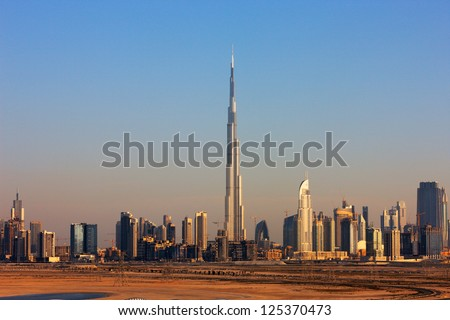 DUBAI, UAE - MAY 7 - Dubai was a desert just 30 years ago, now it is home to many of the tallest skyscrapers in the world. Picture taken on May 7, 2010. - stock photo