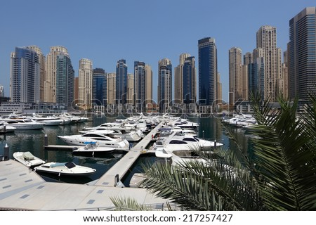 DUBAI, UAE - MAY 28: Luxruy Yachts at Dubai Marina. May 28, 2011 in Dubai, United Arab Emirates  - stock photo
