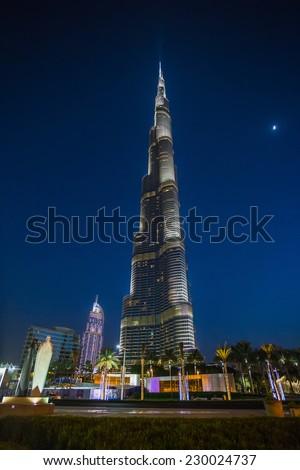 Dubai, UAE - Nov 9, 2013: Burj Khalifa Tower, the highest building in the world - stock photo