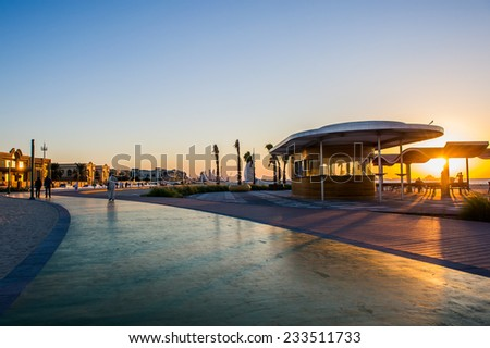 DUBAI,UAE-NOV 18:Jumeirah beach in Dubai, United Arab Emirates on November 18,2014 - stock photo