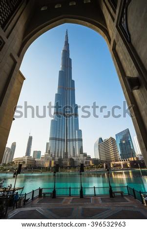 DUBAI, UAE - November 31: A record-setting fountain system set on Burj Khalifa Lake, it shoots water 150 m into the air, at November 31, 2013 in Dubai, United Arab Emirate - stock photo