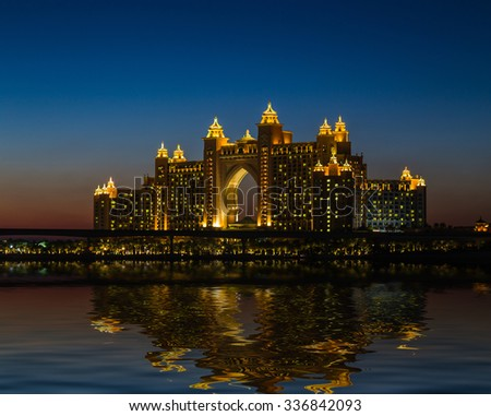 DUBAI, UAE - NOVEMBER 7: Atlantis Hotel in Dubai. UAE. November 7, 2013. The newly opened multi-million dollar Atlantis Resort, Hotel & Theme Park at the Palm Jumeirah Island in Dubai. - stock photo