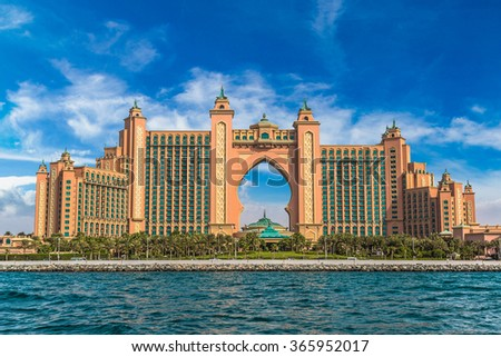 DUBAI, UAE - NOVEMBER 13: Atlantis hotel in Dubai, United Arab Emirates, on November 13, 2015 - stock photo