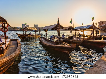 DUBAI, UAE - NOVEMBER 8: Boats on the Bay Creek in Dubai, UAE nov 8 2013 - stock photo