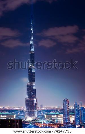 DUBAI, UAE. - NOVEMBER 29 : Burj Dubai - tallest building in the world, at 828m. on November 29, 2011 in Dubai, UAE. - stock photo