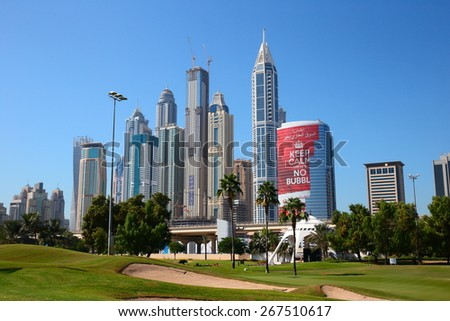 DUBAI, UAE - NOVEMBER 11, 2013: Dubai city was the fastest developing city in the world between 2002 and 2008. - stock photo