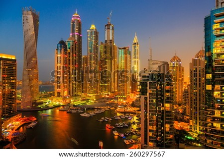 DUBAI, UAE - NOVEMBER 2: Dubai Marina at night from the top, on November 2, 2013, Dubai, UAE. In the city of artificial channel length of 3 kilometers along the Persian Gulf. - stock photo