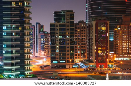 DUBAI, UAE - NOVEMBER 12: Dubai Marina at night, on November 12, 2012, Dubai, UAE. In the city of artificial channel length of 3 kilometers along the Persian Gulf. - stock photo
