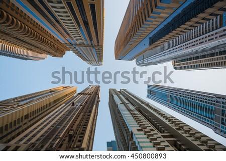 DUBAI, UAE - NOVEMBER 3: Dubai Marina. UAE. November 3, 2013. Dubai was the fastest developing city in the world between 2002 and 2008. - stock photo