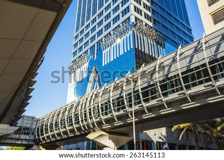 DUBAI, UAE - NOVEMBER 9: Dubai Metro as world's longest fully automated metro network (75 km) on November 9, 2013, Dubai, UAE. - stock photo