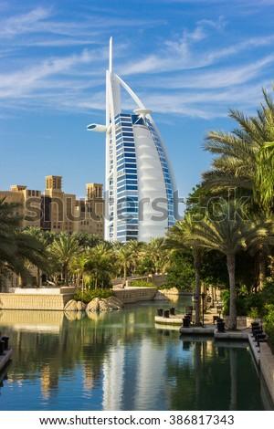 "DUBAI, UAE - NOVEMBER 15, 2012: General view of the world's first seven stars luxury hotel Burj Al Arab ""Tower of the Arabs"" - stock photo"