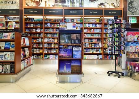 DUBAI, UAE - NOVEMBER 16, 2015: interior of Dubai Duty Free. Dubai Duty Free is the largest single airport retail operation in the world - stock photo