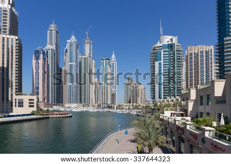 DUBAI, UAE - NOVEMBER 11, 2013: Modern buildings in Dubai Marina - stock photo