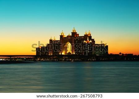 DUBAI, UAE-NOVEMBER 7, 2013: Night view Atlantis Hotel - stock photo