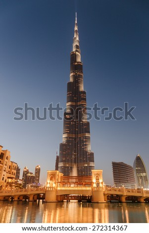DUBAI, UAE - NOVEMBER 13, 2013: Night view of tower Burj Khalifa. - stock photo