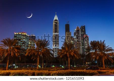 DUBAI, UAE - NOVEMBER 18: Nightlife in Dubai. UAE. November 18, 2012 - stock photo
