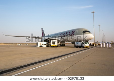 Dubai, UAE - NOVEMBER 11, 2015: Qatar Airways Airbus A350 on static display at Dubai Airshow 2015 on November 11, 2015 in Dubai - stock photo