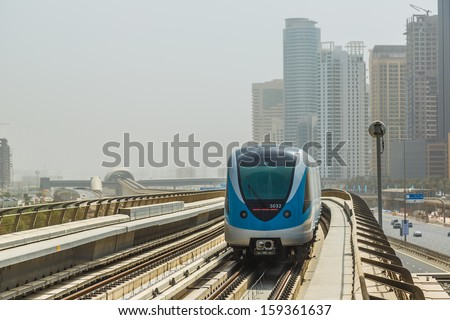 DUBAI, UAE - NOVEMBER 14 - The construction cost of the Dubai Metro project has shot up by about 80 per cent from the original US$ 4.2 billion to US$ 7.6 billion on November 14, 2012. - stock photo