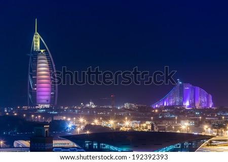 DUBAI, UAE - NOVEMBER 14 :The world's first seven stars luxury hotel Burj Al Arab, November 14, 2012 in Dubai, United Arab Emirates - stock photo