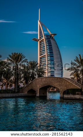 DUBAI, UAE - NOVEMBER 2 :The world's first seven stars luxury hotel Burj Al Arab ,November 2, 2012 in Dubai, United Arab Emirates - stock photo