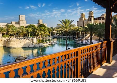 DUBAI, UAE - NOVEMBER 15: View of the  Souk Madinat Jumeirah.Madinat Jumeirah encompasses two hotels and clusters of 29 traditional Arabic houses. Nov 15, 2012 in Dubai - stock photo