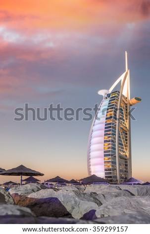 DUBAI, UAE - OCT 9, 2015 : Burj Al Arab, One of the most famous landmark of United Arab Emirates. Picture taken during sunset on October 9, 2015 - stock photo