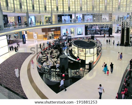 DUBAI, UAE - OCTOBER 18: Mall of the Emirates interior October 18, 2012 in Dubai, United Arab Emirates. Mall of the Emirates is a shopping mall in the Al Barsha district of Dubai. - stock photo