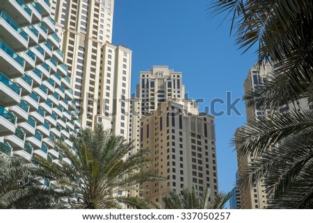Dubai, UAE - October 01: Urban landscape of Dubai, UAE on October 01 2015. Dubai is is the most populous city in the United Arab Emirates popular by its luxury resorts. - stock photo