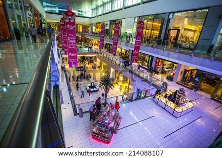 DUBAI, UAE - OCTOBER 31: World's largest shopping mall based on total area and sixth largest by gross leasable area, October 31, 2013 in Dubai, UAE - stock photo