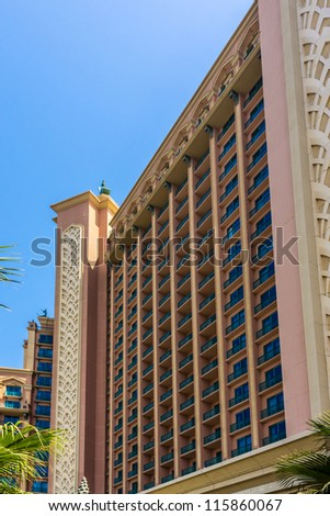 DUBAI, UAE - SEPTEMBER 30: 5-star Hotel Atlantis (1,539 spacious guest rooms including 166 suites) on man-made island of Palm Jumeirah at September 30, 2012 in Dubai, United Arab Emirates. Building. - stock photo