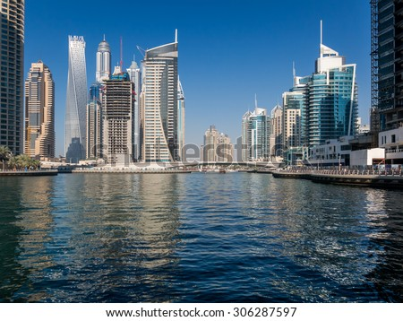 DUBAI, UNITED ARAB EMIRATES - JAN 25, 2014: Highrise buildings in the Marina district of Dubai, United Arab Emirates - stock photo