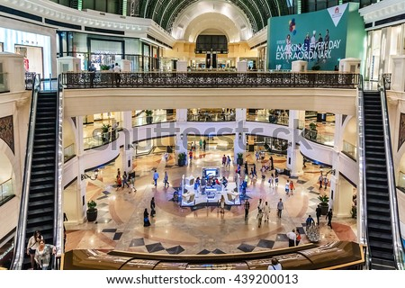 DUBAI, UNITED ARAB EMIRATES - SEPTEMBER 6, 2015: Interior of Mall of the Emirates. This is the second largest mall in Dubai containing the biggest indoor ski slope in the world. - stock photo