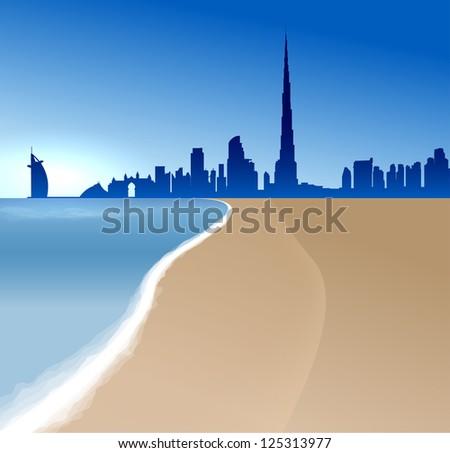 Dubai vector illustration with beach and sea - stock photo