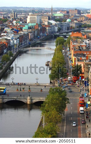 Dublin City Aerial View featuring O'Connell Bridge over the river liffey - stock photo