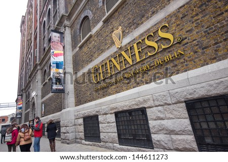 DUBLIN, IRELAND - APR 1: The Guinness Storehouse Brewery at St. James Gate, Dublin Ireland on April 1, 2013.  Guinness brewery  was founded in 1759 in Dublin, Ireland, by Arthur Guinness - stock photo